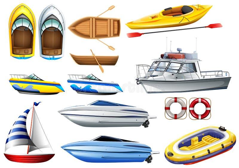 Fartyg och varierande format royaltyfri illustrationer