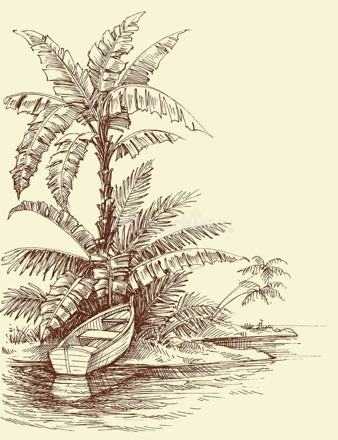 Fartyg på kusten, tropisk öteckning royaltyfri illustrationer