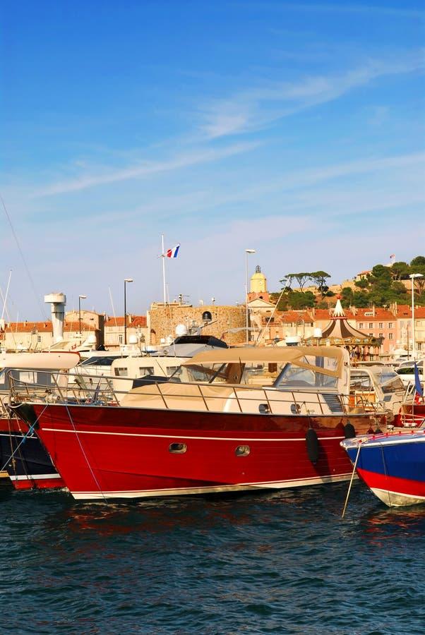 Fartyg på St Tropez royaltyfria bilder