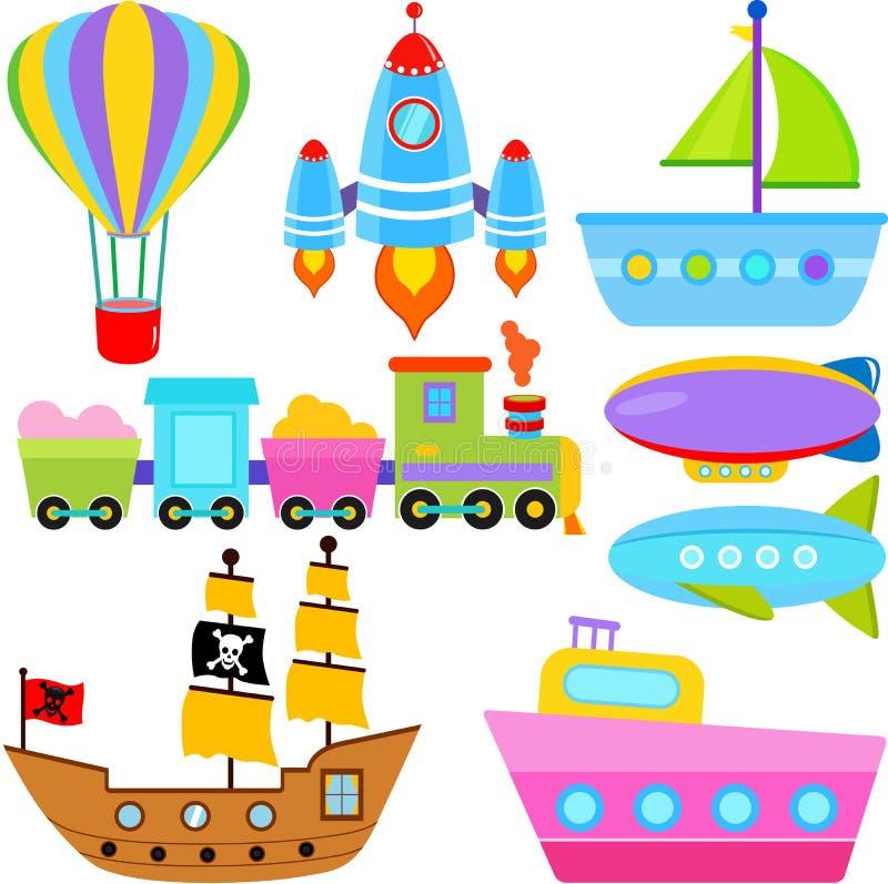 Fartyg-/ship-/flygplanmedel/trans. stock illustrationer