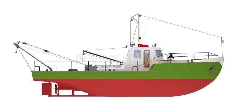 Fartyg som bogserar sidosikten som isoleras på vit royaltyfri illustrationer
