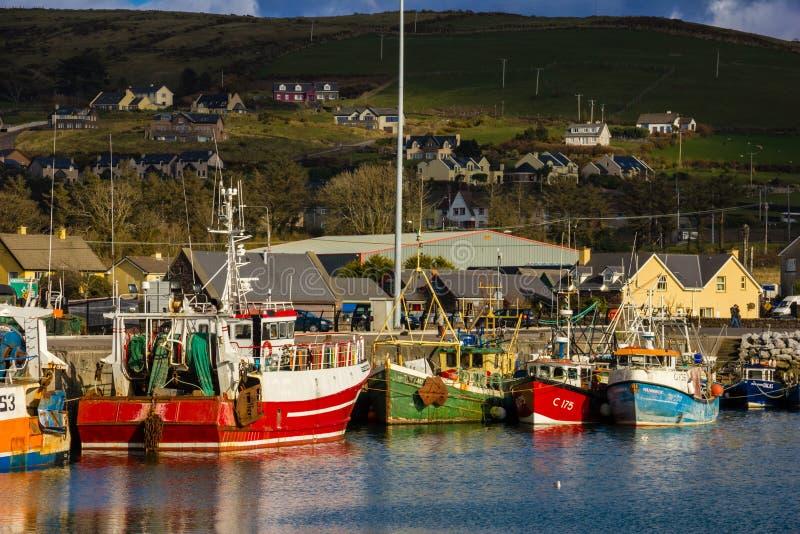 fartyg som fiskar hamn dingle ireland arkivfoton