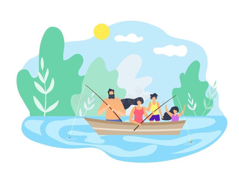 Fartyg som ner svävar floden som fiskar bra väder stock illustrationer