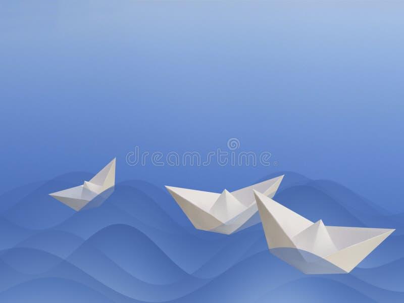 fartyg som tillsammans seglar stock illustrationer