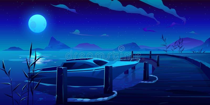 Fartyg, yacht som förtöjas till pir på nattfloden, eller sjö vektor illustrationer
