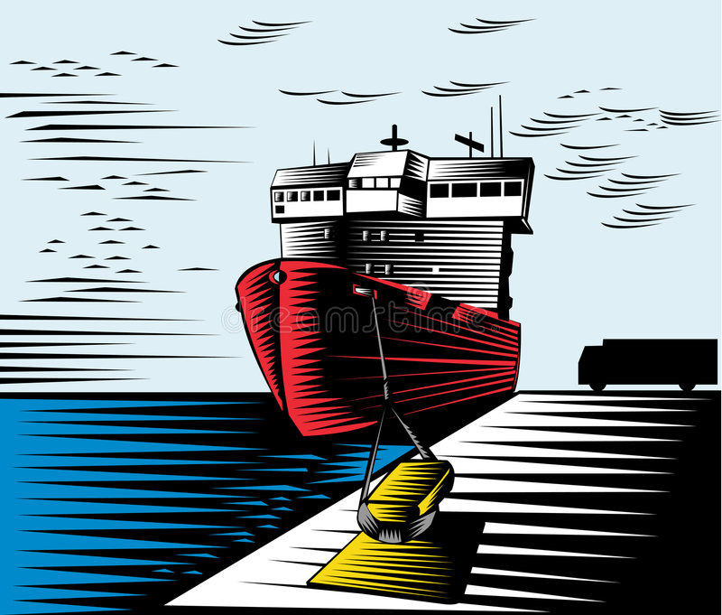 fartygdock royaltyfri illustrationer