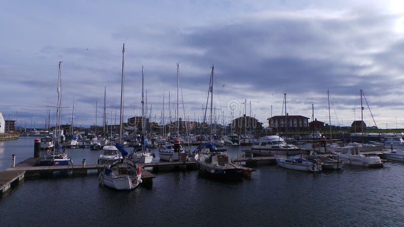 Fartygen i Marina Hartlepool arkivfoton