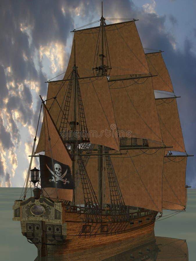 fartyget piratkopierar stock illustrationer