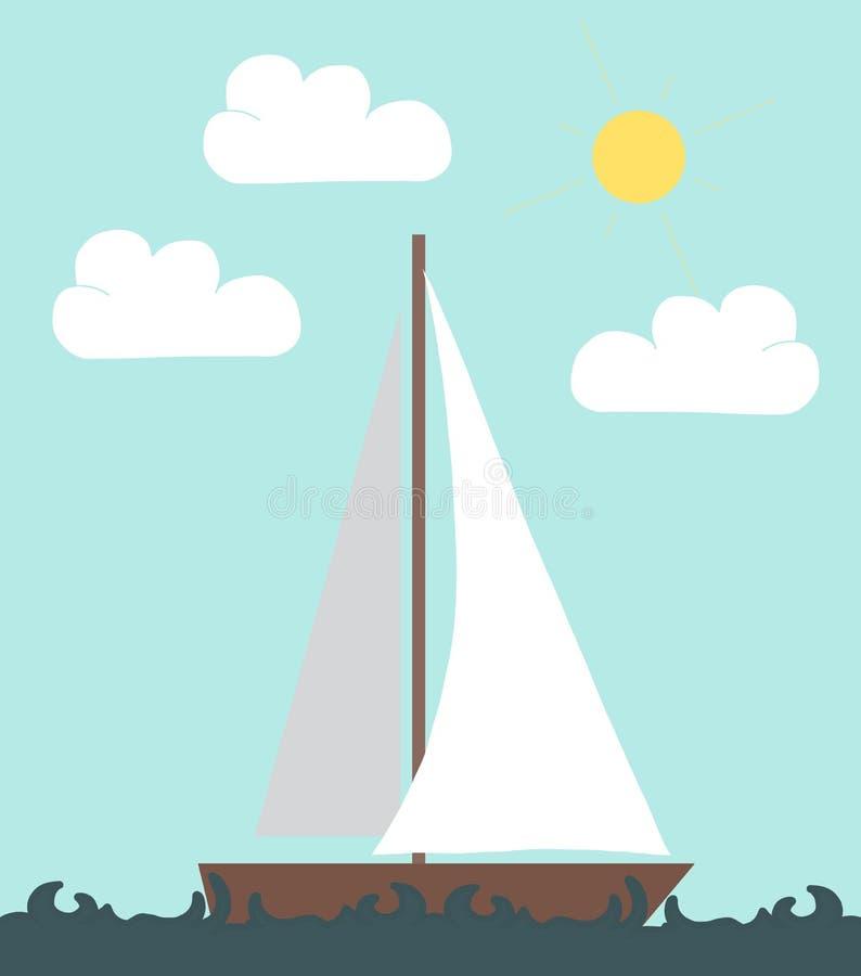 fartyget seglar vektor illustrationer