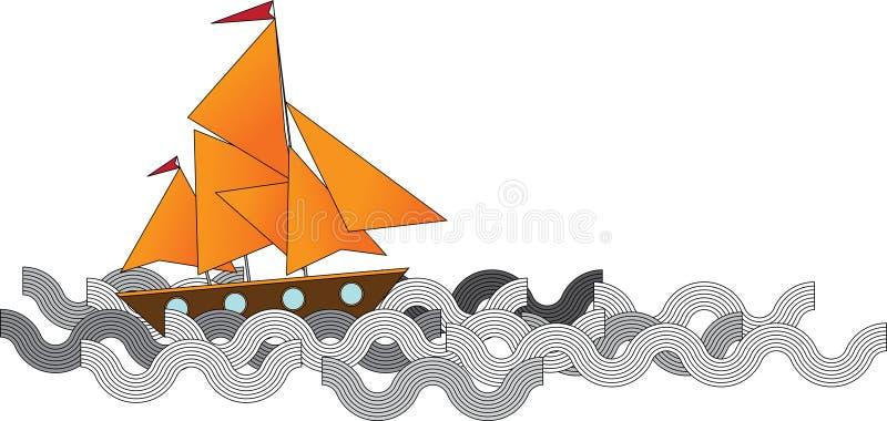 fartyget seglar stock illustrationer