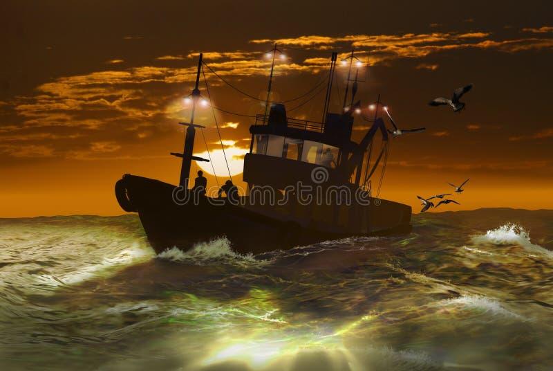 fartygfiskesoluppgång under stock illustrationer