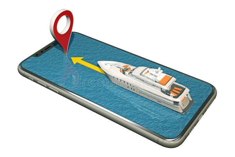 Fartygflöten på smartphonen till markörstiftet royaltyfri illustrationer