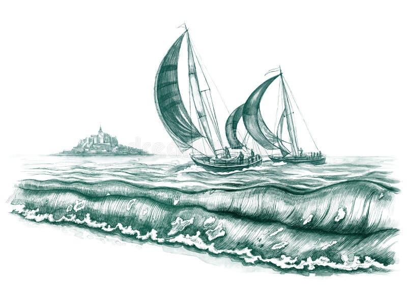 fartyghav vektor illustrationer