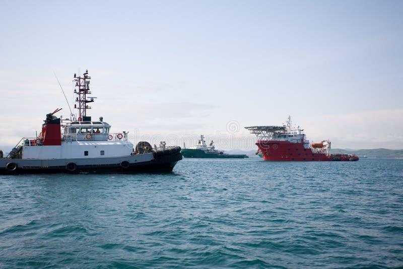 fartyghavbogserbåtar arkivbilder