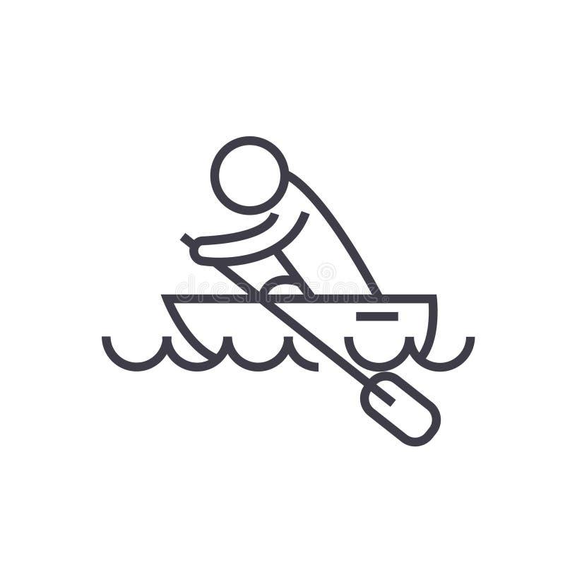 Fartygloppet, kajaker som ror den plana linjen illustration för loppet, begreppsvektorn, isolerade symbolen på vit bakgrund stock illustrationer