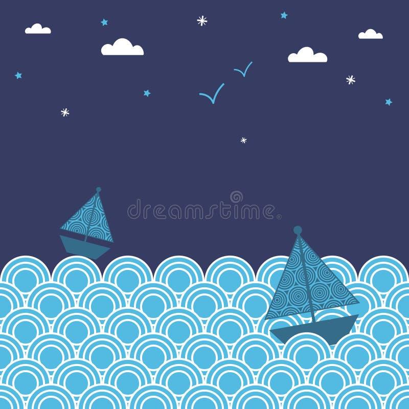 fartygnatt vektor illustrationer