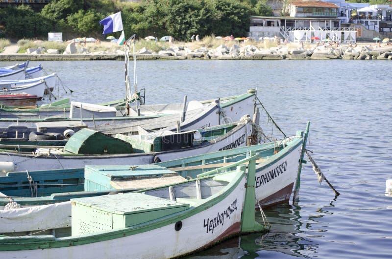 Fartygpir på Blacket Sea, Bulgarien fotografering för bildbyråer