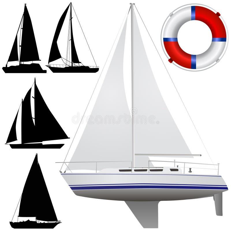 fartygseglingvektor vektor illustrationer