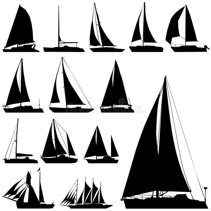 fartygseglingvektor royaltyfri illustrationer