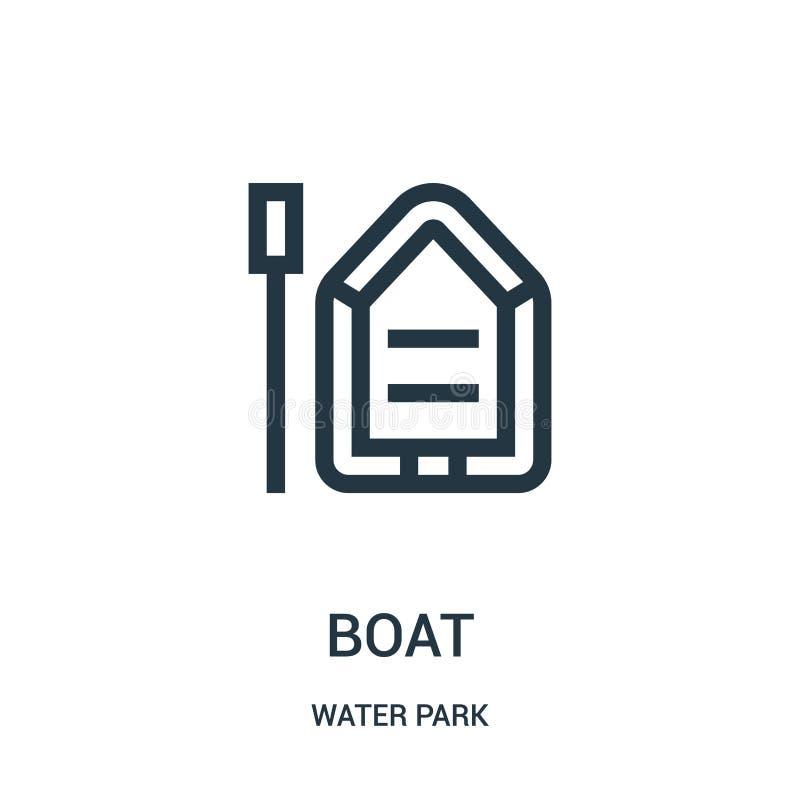 fartygsymbolsvektorn från vatten parkerar samlingen Tunn linje illustration för vektor för fartygöversiktssymbol Linjärt symbol f royaltyfri illustrationer