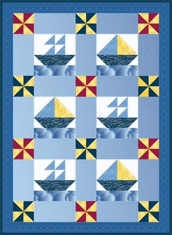 fartygtäcket seglar stock illustrationer