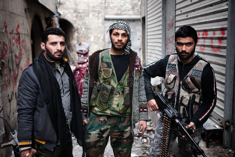FAS lutadores, Aleppo, Síria. fotografia de stock royalty free