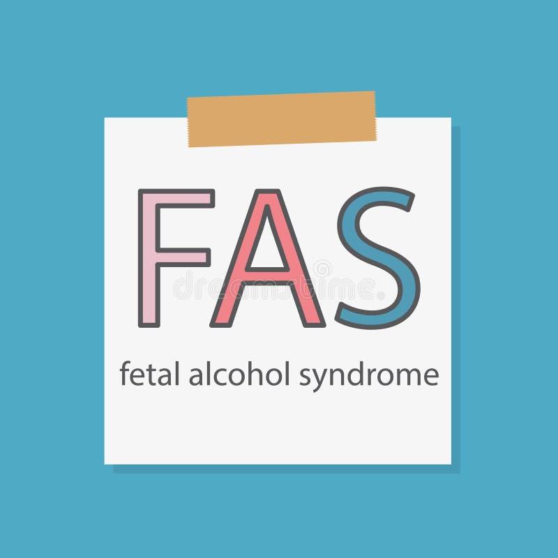 FAS síndrome alcohólico fetal escrito en un papel del cuaderno ilustración del vector