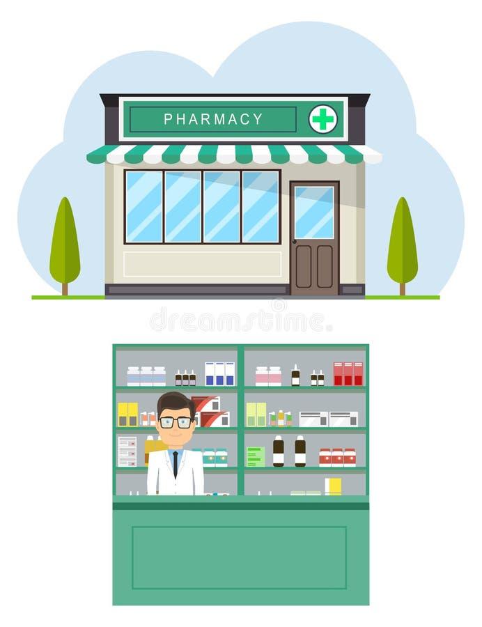 Fasad av apoteklagret i stads- utrymme Modernt inre apotek eller apotek med den manliga apotekaren på räknaren vektor illustrationer