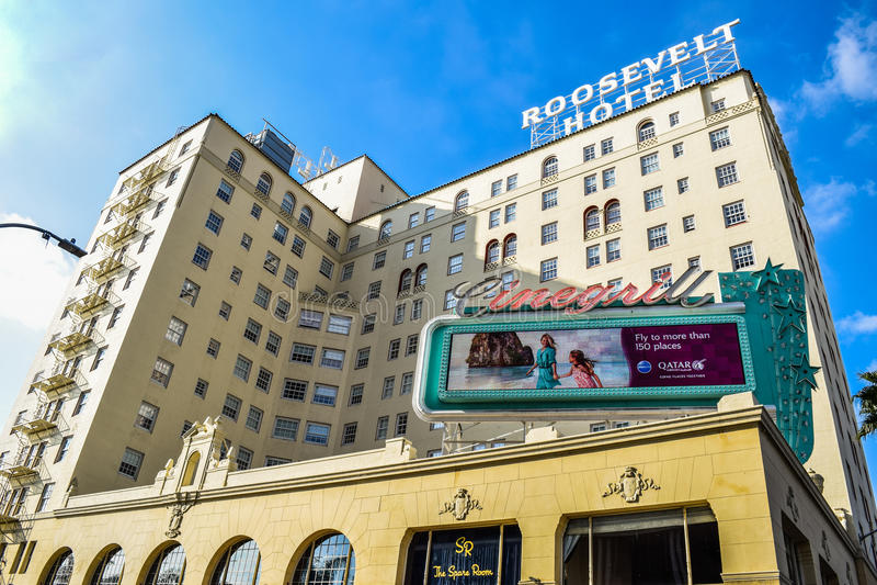 Fasad av berömda historiska Roosevelt Hotel i Hollywood royaltyfri fotografi