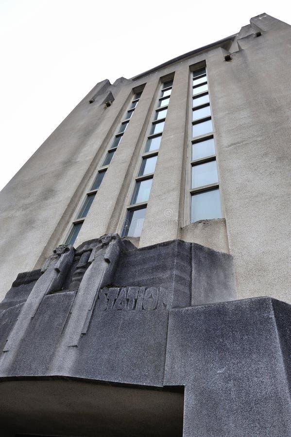 Fasad av byggnaden av radion Kootwijk royaltyfri foto