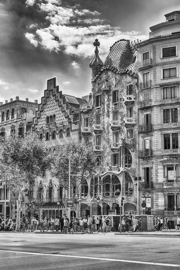 Fasad av casaen Batllo och casaen Amatller, Barcelona, Catalonia, S arkivbild