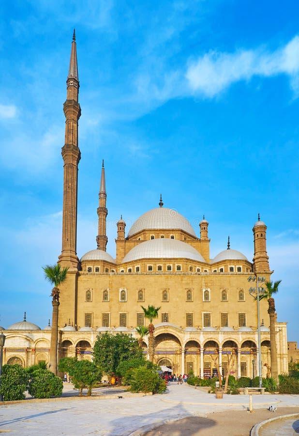 Fasad av den alabaster- moskén, Kairo, Egypten royaltyfri foto