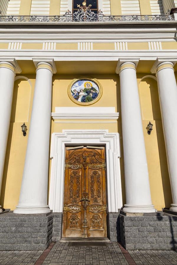 Fasad av den forntida Hagiaen Sophia Cathedral Zhytomyr ukraine arkivfoton
