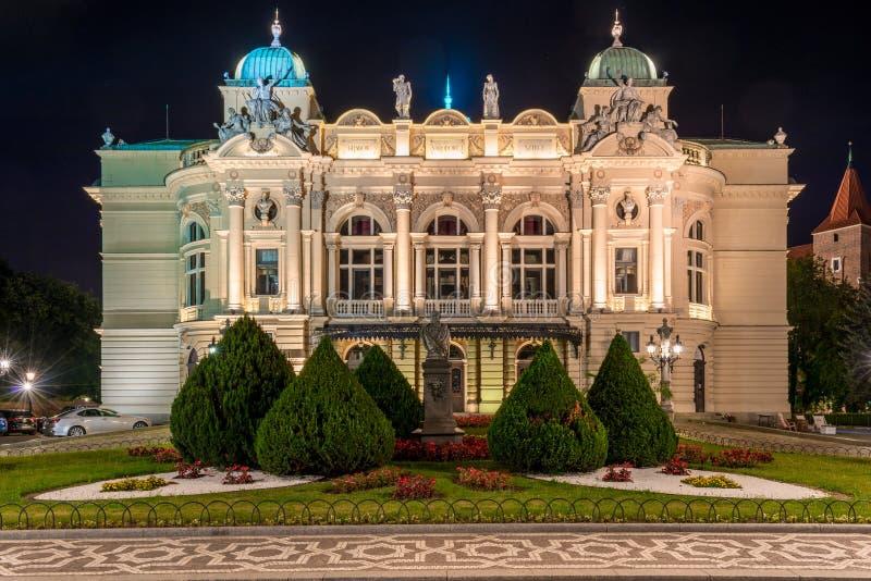 Fasad av den härliga dramatiska teatern i Krakow fotografering för bildbyråer