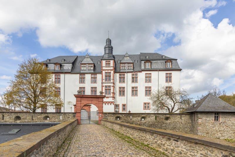 Fasad av den historiska slotten i Idstein, Tyskland royaltyfri fotografi