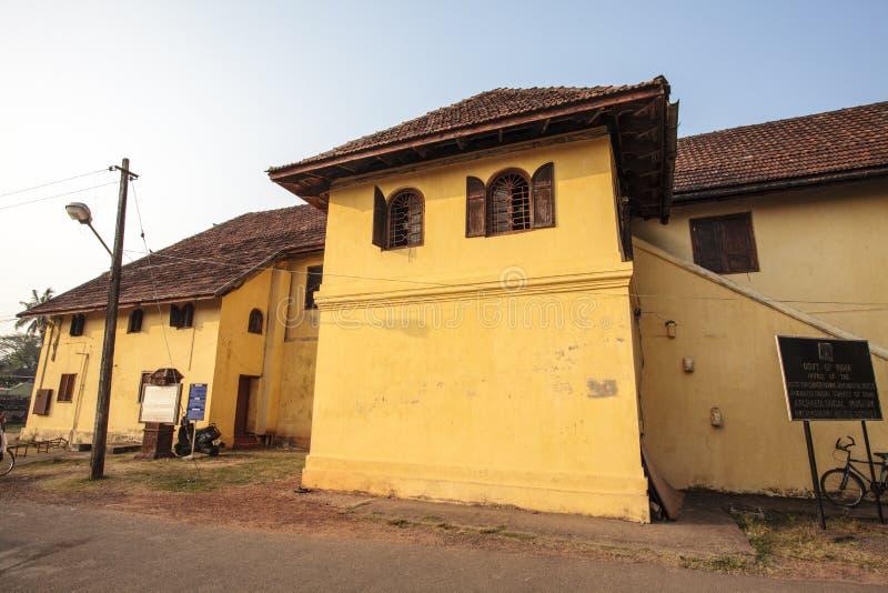 Fasad av den holländska slotten i Kochin, Kerala - södra Indien arkivfoto