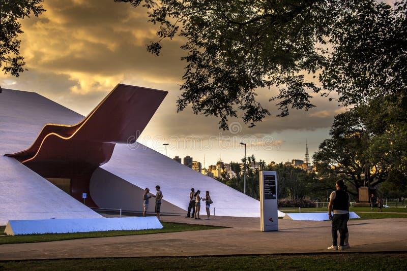 Fasad av den Ibirapuera salongen i Sao Paulo royaltyfria foton
