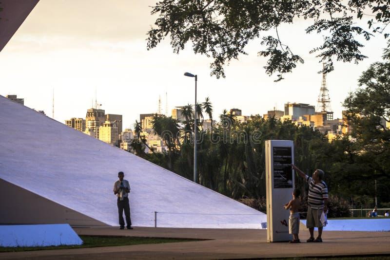 Fasad av den Ibirapuera salongen i Sao Paulo arkivfoton
