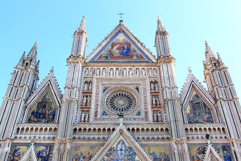 Fasad av den Orvieto domkyrkan, Italien royaltyfria foton
