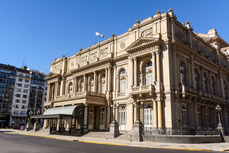 Fasad av det Teatro kolonet i Buenos Aires royaltyfri fotografi