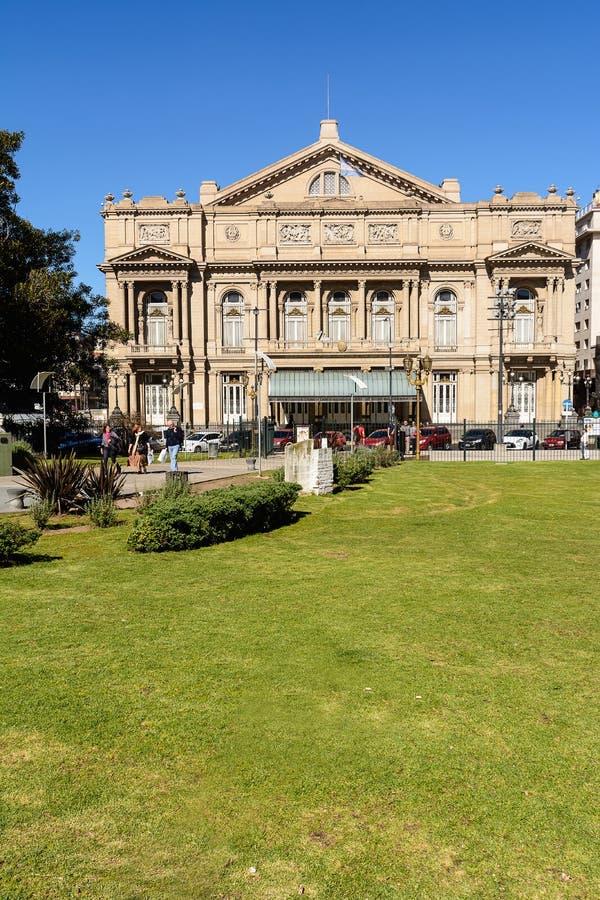 Fasad av det Teatro kolonet i Buenos Aires Argentina arkivbilder