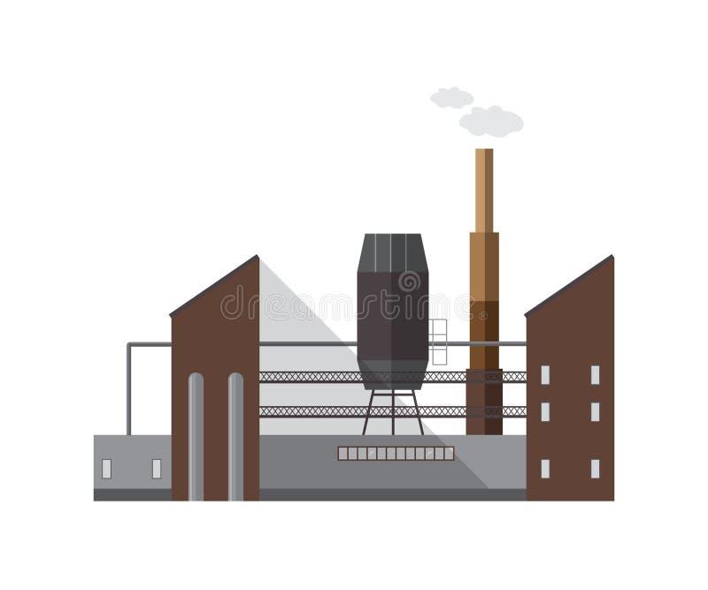 Fasad av fabriksbyggnad eller kokkärlhuset med röret som sänder ut dunsten eller gas som isoleras på vit bakgrund Yttersida av royaltyfri illustrationer