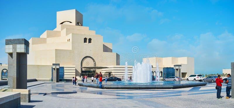 Fasad av islamiska Art Museum, Doha, Qatar royaltyfri bild