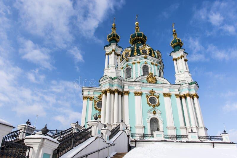 Fasad av kyrkan för St Andrew ` s - en rysk ortodox kyrka i Kyiv Kiev, Ukraina arkivbild