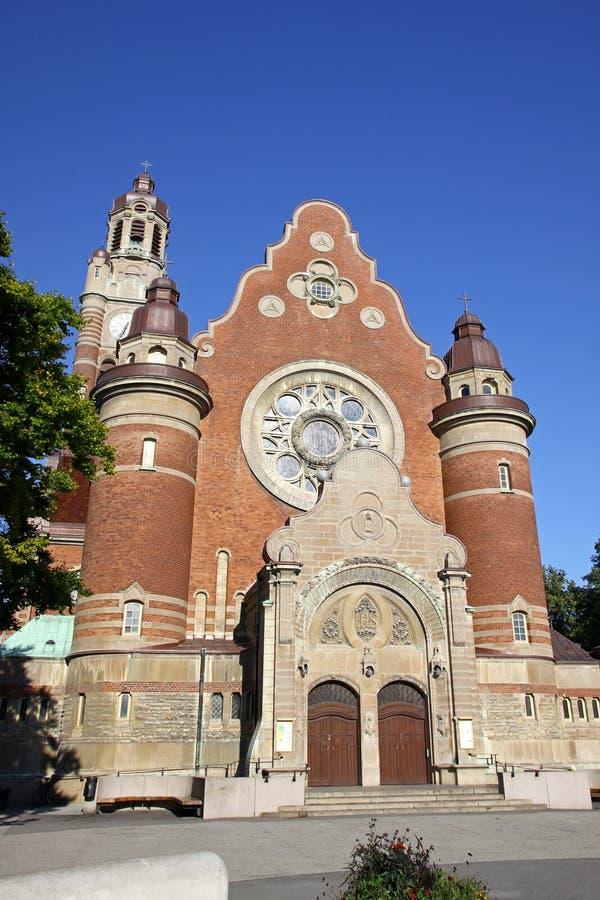 Fasad av St Johannes Church i Malmo, Sverige royaltyfri foto