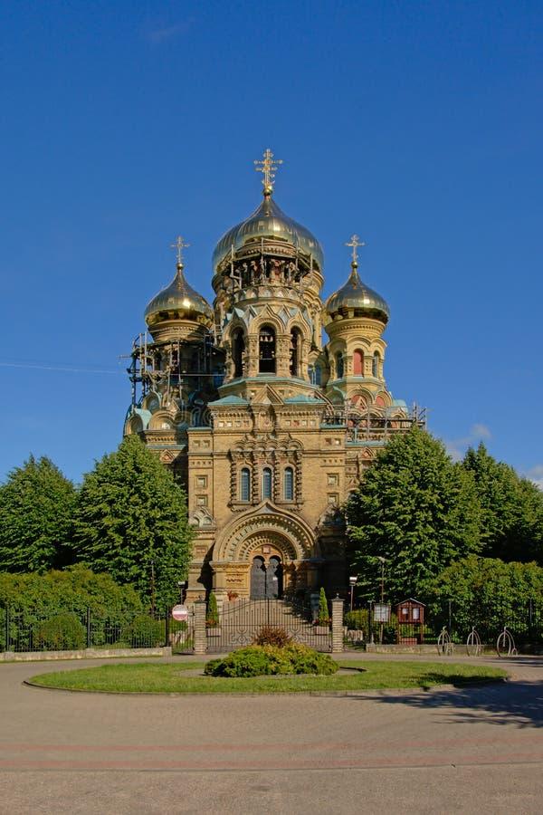 Fasad av St Nicholas Naval Cathedral i Karosta arkivfoton