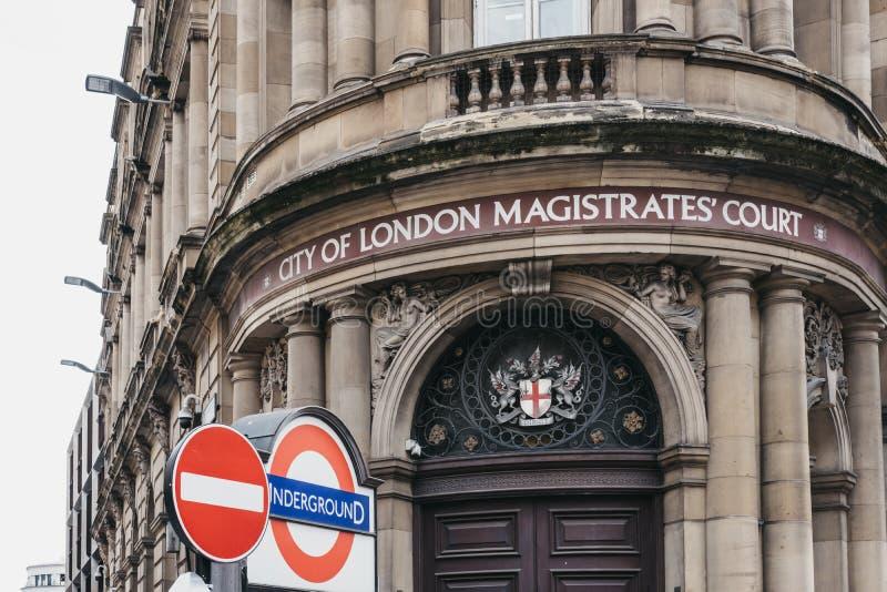 Fasad av staden av London magistraters domstol, London, UK arkivfoto