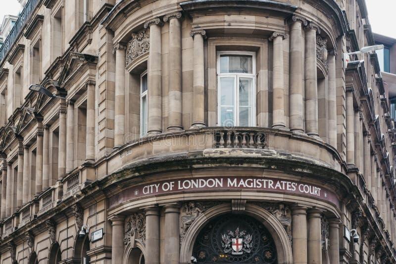 Fasad av staden av London magistraters domstol, London, UK arkivbild