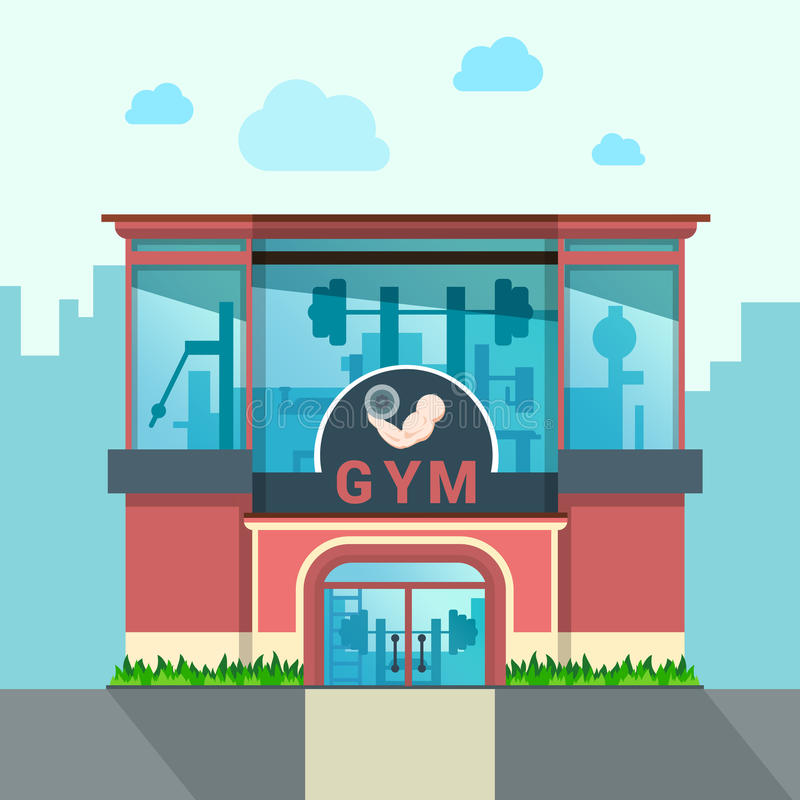 Fasad för främre sikt för idrottshallbyggnad sh yttre utomhus- vektor illustrationer
