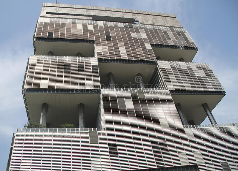 Fasad som bygger Petrobras den i stadens centrum himmelstaden Rio de Janeiro Brazil fotografering för bildbyråer